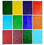 Lanyani 10 Sheets Colored Water Ripple Glass Pack 4 x 6 inches Transparent Cathedral Stained Glass Sheets, Variety Colors…