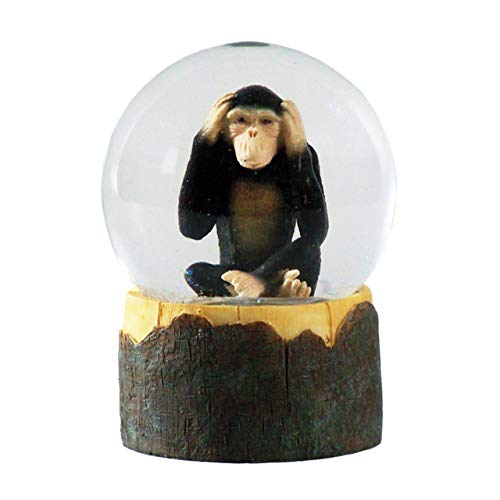 Water Globe - Mono de Deluxebase. Bola de Nieve de Mono con Figura de Resina y Base Moldeada. Genial como decoración hogar, Adorno o Regalo. (Diseño seleccionado al Azar de 2 Colores)