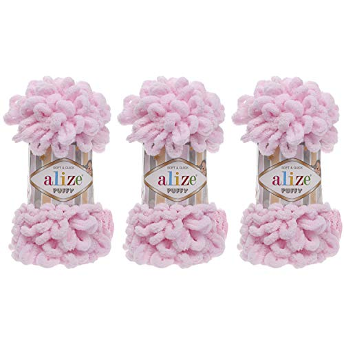 Alize Ovillo de lana 100% micro poliéster, tejido a mano, hilo de ganchillo para tejer a mano, suave y rápido, 3 Skn 300 g, 30 yardas, color 031