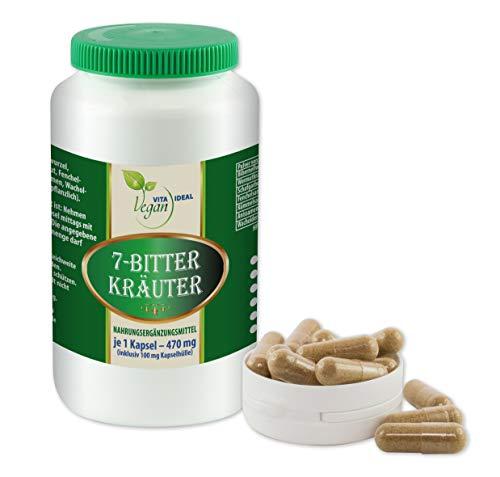 VITAIDEAL VEGAN® 7 Bitter Kräuter 120 pflanzliche Kapseln, je 470mg. Pulver gemahlen von Bibernellwurzel, Wermut, Schafgarben, Fenchel, Kümmel, Anis, Wacholderbeeren, rein natürlich ohne Zusatzstoffe.