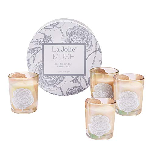 Scented Candles Gift Set - 4 Soy Candles Aromatherapy Candles Stress Relief, Small Votive Glass Decorative Candles, Birthday Candle Gifts for Women