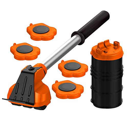 Heavy Duty Furniture Lifter with 4 Sliders for Easy and Safe Moving, Appliance Roller Suitable for Sofas, Couches and Refrigerators, Adjustable Height [Load Capacity: 660lbs Per Wheel] Orange