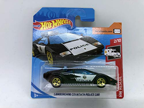 2019 Hot Wheels Lamborghini Countach Police Car 2/10 HW Rescue 142/250 (Short Card)
