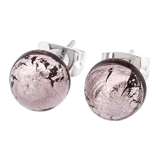 GlassOfVenice - Pendientes de bola de cristal de Murano, color morado