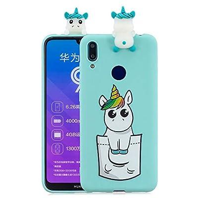 SEEYA Funda Silicona 3D para Huawei Y7 2019 Case Patrón Bolsillo Unicornio Azul Carcasas y Fundas para móviles Suave Flexible Delgado Bumper Diseño Dibujos Animados Linda Caso para Huawei Y7 2019
