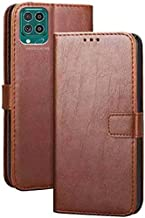 Americhome Premium Leather Kickstand Wallet Flip Case Back Cover flip Cover with Magnetic Closure for Samsung Galaxy A12 M12 F12 Brown