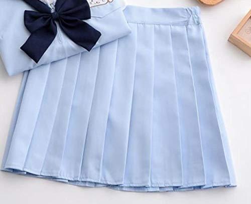 KADIS Sky Blue JK Uniforms Japanese School Girl Cosplay Trajes de Marinero con Pajarita Azul Marino Cute Anime Uniforme Escolar Cosplay, Falda única, M