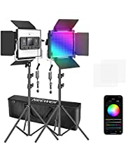 Neewer 2 Packs 480 RGB Led Light with APP Control, Photography Video Lighting Kit with Stands and Bag, 480 SMD LEDs CRI92/3200K-5600K/Brightness 0-100%/0-360 Adjustable Colors/10 Applicable Scenes