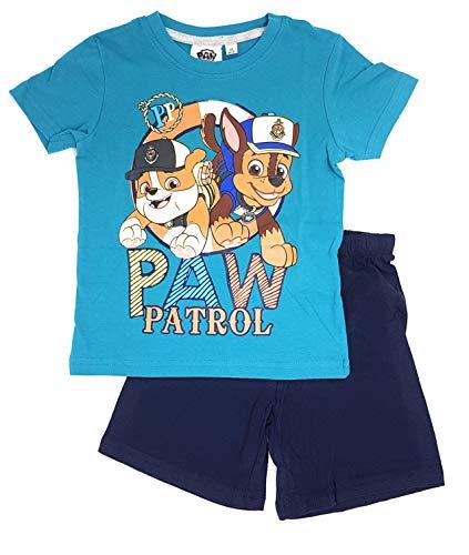 Paw-Patrol Jungen Schlafanzug Pyjama (Türkis, 128)