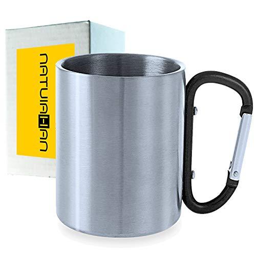 Natuiahan Taza Premium de Acero Inoxidable Metálico Vaso de Camping para Beber de Metal, sin BPA, de 210 ml. Asa de Mosquetón Negro. Incluye Caja de Regalo