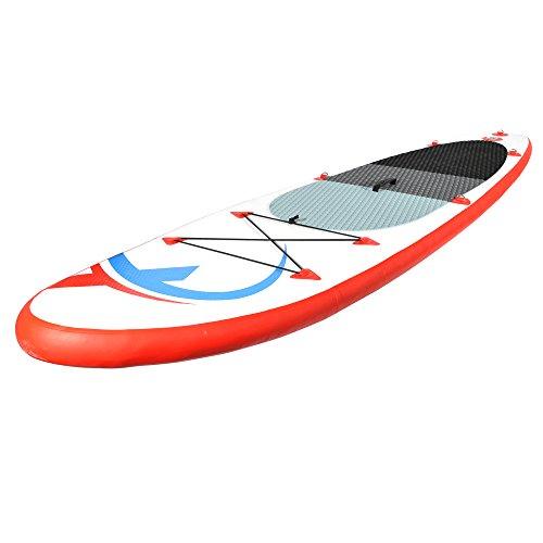 Nemaxx PB305 Stand up Paddle Board 305x76x10cm, rot/blau - SUP, Surfbrett, Surf-Board - aufblasbar & leicht zu transportieren - inkl. Tasche, Paddel, Finne, Luftpumpe, Repair Kit, Fuß-Leine