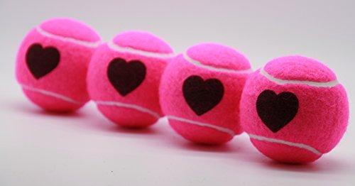 Price's Heart Motif Tennis Balls ITF Standard Made in the UK (1 x 4 Ball Tube)