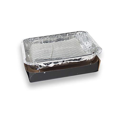 EUROXANTY® Barbacoa Mono Uso | Barbacoa portátil | Barbacoa para acampadas | con carbón Incluido | Barbacoa desechable | Barbacoa de Aluminio | 32 x 23 x 5 cm | 1 Unidad