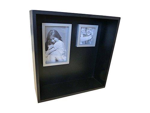 Casablanca fotolijstje plank hout zwart zilverkleurig 30x30cm