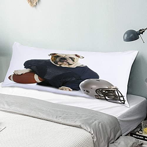 Funda de Almohada para el Cuerpo,Perro de Deportes Bulldog Ingls Disfrazado d, Funda de Almohada Larga con Cierre de Cremallera Funda de cojn Decorativa para sof Sof Dormitorio Coche 20 'x 54'