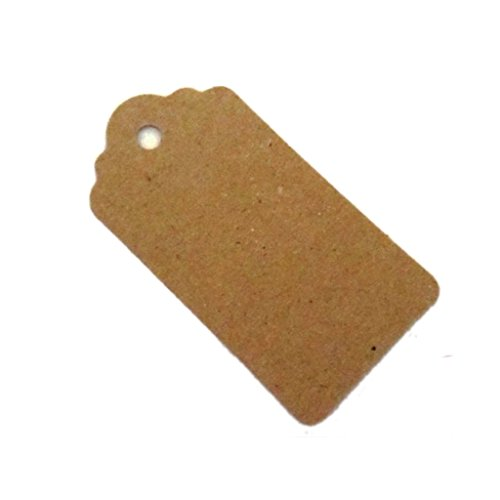 100pcs 95mm x 45mm Large Shabby Chic Scalloped Wedding Tags,Kraft Paper Gift Tag - 100% Recyclable - Luggage Tag, Hang Tag,Price Label, DIY Tag (100)