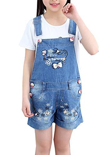 TASIEHERO Latzhose Kinder Mädchen Kurze Hosen Shorts Bermuda Sommerhose Overall Einteiler Jumpsuit mit Blumen und Schmetterling Stickerei (140/ Größe 130 cm)