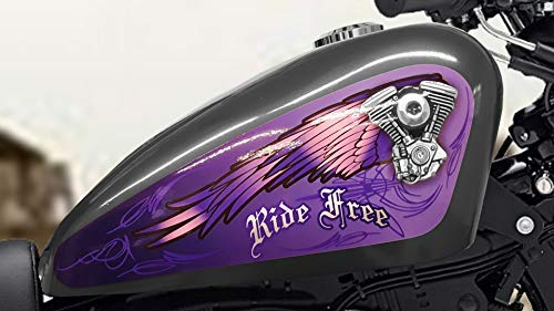 East Coast Vinyl Werkz - V Twin Wings - Ride Free - (Purple) 3pc Set Fuel Tank Decal for Harley Davidson Sportster 883 1200 Iron 48