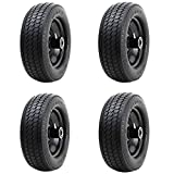 Iococee 10' Flat-Free Replacement Wheels 4.10/3.50-4' Universal Fit Solid Tires Utility Tire Rubber Wheelbarrows Wheels for Lawn Carts Gorilla Carts Hand Truck Garden Carts Air Compressor(Pack of 4)