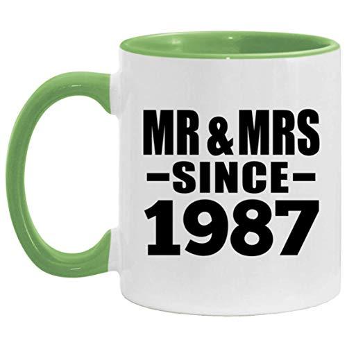 34th Anniversary Mr & Mrs Since 1987-11oz Accent Mug Green Kaffeebecher 325ml Grün Keramik-Teetasse - Geschenk zum Geburtstag Jahrestag Weihnachten Valentinstag
