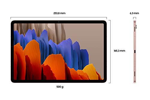 Samsung Galaxy Tab S7, Android Tablet mit Stift, 4G, WiFi, 3 Kameras, großer 8.000 mAh Akku, 11,0 Zoll LTPS Display, 128 GB/6 GB RAM, Tablet in bronze