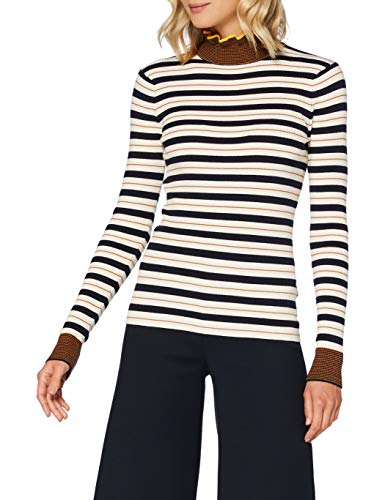 Scotch & Soda Maison Womens Knitted turtleneck in striped rib Pullover Sweater, Combo C-0219, M