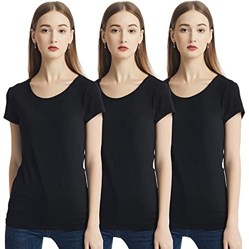KELOYI T-Shirt Donna Girocollo Manica Corta Confezione da 3 Nero Estive...