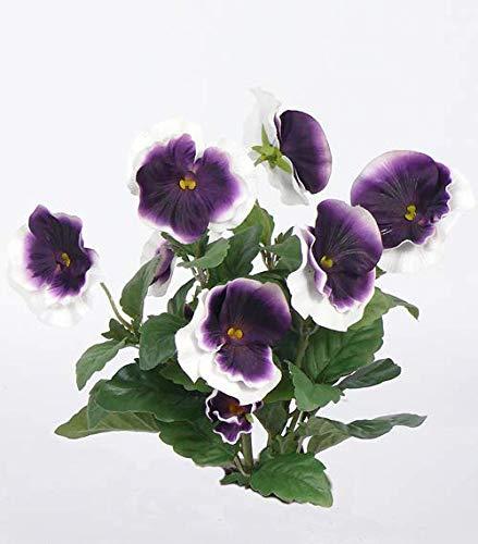 artplants.de Set di 3 x Viola del Pensiero Artificiale Hilde, 7 Fiori, Lilla-Bianco, 30 cm - 3 Pezzi di Fiore Decorativo/Viola Finta