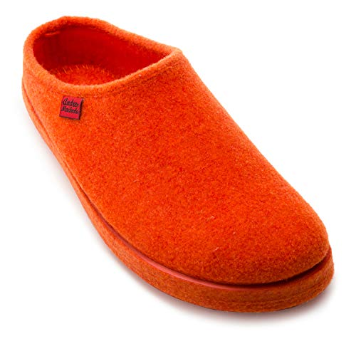 Andres Machado Unisex Hausschuhe für Damen und Herren für Sommer und Winter – Slipper/Pantoffeln - AM001 – Oberteil aus Filz – mit Rutschfester Gummisohle – Orange EU 44