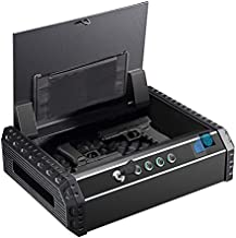 "Dalmbox Biometric Gun Safe for 2 Pistol California DOJ Certified Quick Access Fingerprint Safe Bedside Handgun Safe Lock Box Keypad Gun Safe & Cabinets 14.5'' X10.8""X3.9"""