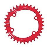 Plato de Bicicleta de Montaña,96 mm BCD 32T 34T 36T 38T Plato Ancho Estrecho Anillo de Cadena de Bicicleta Plato de Aluminio Solo Plato Sram Compatible M6000 M7000 M8000 Shimano MTB BMX(38T-Rojo)
