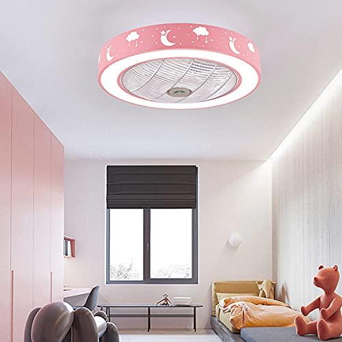 Ventilador Techo Con Luz Y Mando A Distancia Silencioso Lampara Ventilador Infantil Techo 3 Velocidades Regulable Para Dormitorio Salon Lamparas De Techo Habitacion,Rosado