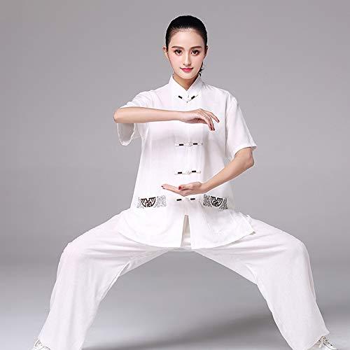 HYMY Taiji Uniform Kungfu kostuum vechtsporten training pak zomer katoen en linnen korte mouw, dames (XS-XXXL)