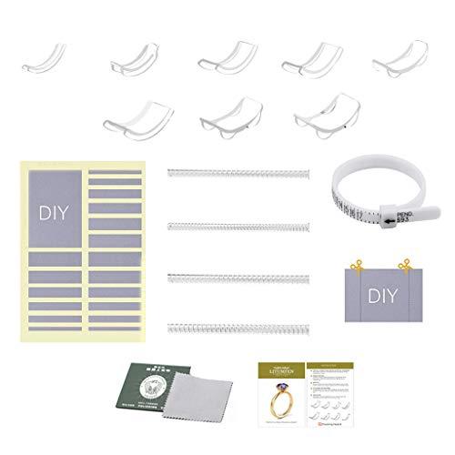 MYhose 34 Teile/Set Silikon Unsichtbare, klare, lose Ringe Reduzierring Sizer Schutzspanner Ringgröße Einsteller Resizer Größenänderung Schmuckwerkzeuge Ring Resizer