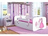 Lit blanc enfant fille Lit enfant princesse Lit enfant simple avec matelas et tiroir inclus - BD, (160x80,Princess & Horse)