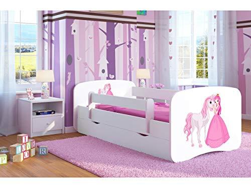 Cama blanca para niños Cama infantil Cama individual para niños Princess con colchón y cajón incluidos - BD, (160x80, Princesa y caballo)