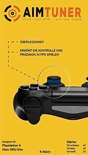 AIMTUNER 12 Blaue Schaumstoff-Ringe zur Verbesserung deiner Zielsicherheit - PS4 Aim Assistance Stoßdämpfer - Zielhilfe für FPS Spiele - Analogstick Tuner für Playstation und Xbox One & 360