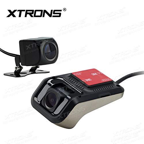 XTRONS - Grabador de vídeo y cámara Trasera para Coche (Sistema de Seguridad de 170°, Gran Angular, cámara Frontal de visión Trasera de 120°)