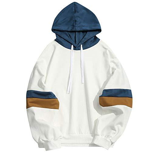 ZODOF Overdose Sudadera Hombres Patchwork Slim Fit Hoodie OtoñO Moda Outwear Nueva Blusa Adolescente Top 2019 Sudadera,Blanco