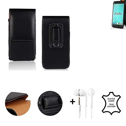 K-S-Trade® Leder Gürtel Tasche + Kopfhörer Für Energizer H550S Seitentasche Belt Pouch Handy-Hülle Gürteltasche Schutz-Hülle Etui Schwarz 1x