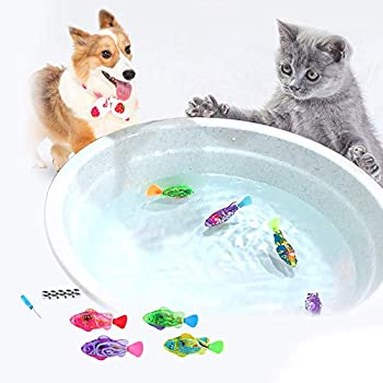 WoLover Interactive Swimming Robot Fish Toy for Cat and Dog with LED Light Swimming Toy to Stimulate Your Pet s Hunter Instincts Activated in Water Magical Electric Toy - 4 PCS