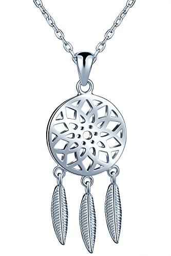 Unendlich U Fashion Traumfänger Damen Mädchen Halskette 925 Sterling Silber Anhänger Verstellbare Kette, Silber