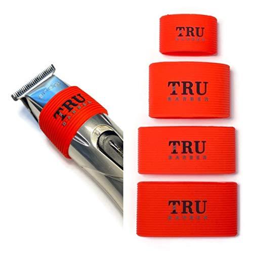 Lot de 4 bandes de serrage TRU BARBER pour barbier, manchon de tondeuse pour outils de barbier, antidérapant, résistant à la chaleur (rouge)