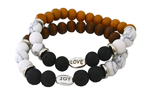 Lehmon Lava Rock Stone Essential Oil Bracelet Diffuser - Natural Semi Precious Gemstone Beads Healing Crystal Bracelet, Aromatherapy