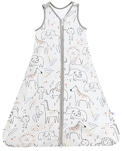 Chilsuessy Saco de dormir de verano para bebé, sin mangas, para verano y primavera, 100 % algodón, diseño de animales felices 110/bebé, altura 110 – 125 cm