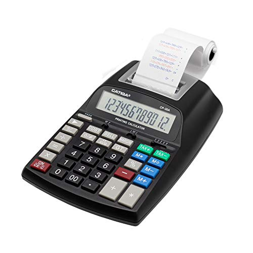 Commercial Printing Calculator with 12 Digit LCD Display Screen, 2.03 Lines/sec, Two Color Printing, AC Adapter Included (Black)