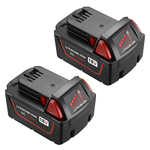 Replacement Battery for Milwaukee 18V Cordless Power Tools, 2 Pack 4.0Ah Lithium Battery Compatible with Milwaukee M18 XC 48-11-1840, 48-11-1841, 48-11-1850, 48-11-1820, 48-11-1828