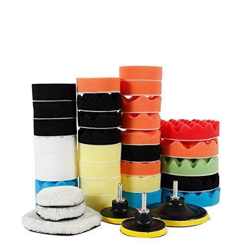 Kit de almohadillas de pulido de espuma para coche, 39 piezas, almohadillas de esponja para pulir de 3 y 5 pulgadas, kit de almohadillas de pulido de lana de espuma para coche