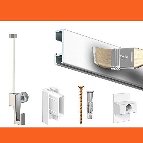 Artiteq - Cimaise Box Artiteq Click ÉCO - Kit accrochage Tableau - Métrage : 4 mètres - Couleur : Blanc Mate à Peindre