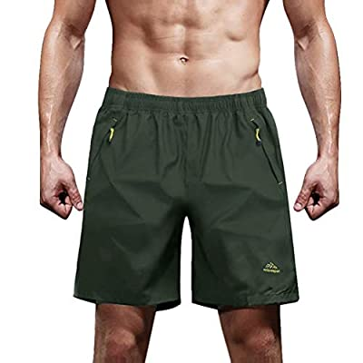 MAGCOMSEN Hiking Shorts Men Running Shorts Zipper Pockets Gym Shorts Workout Shorts Athletic Shorts Men Climbing Shorts Mens Camping Shorts Men Army Green